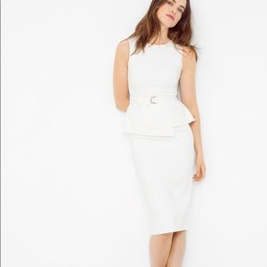 WHBM Ivory Peplum Sheath Dress